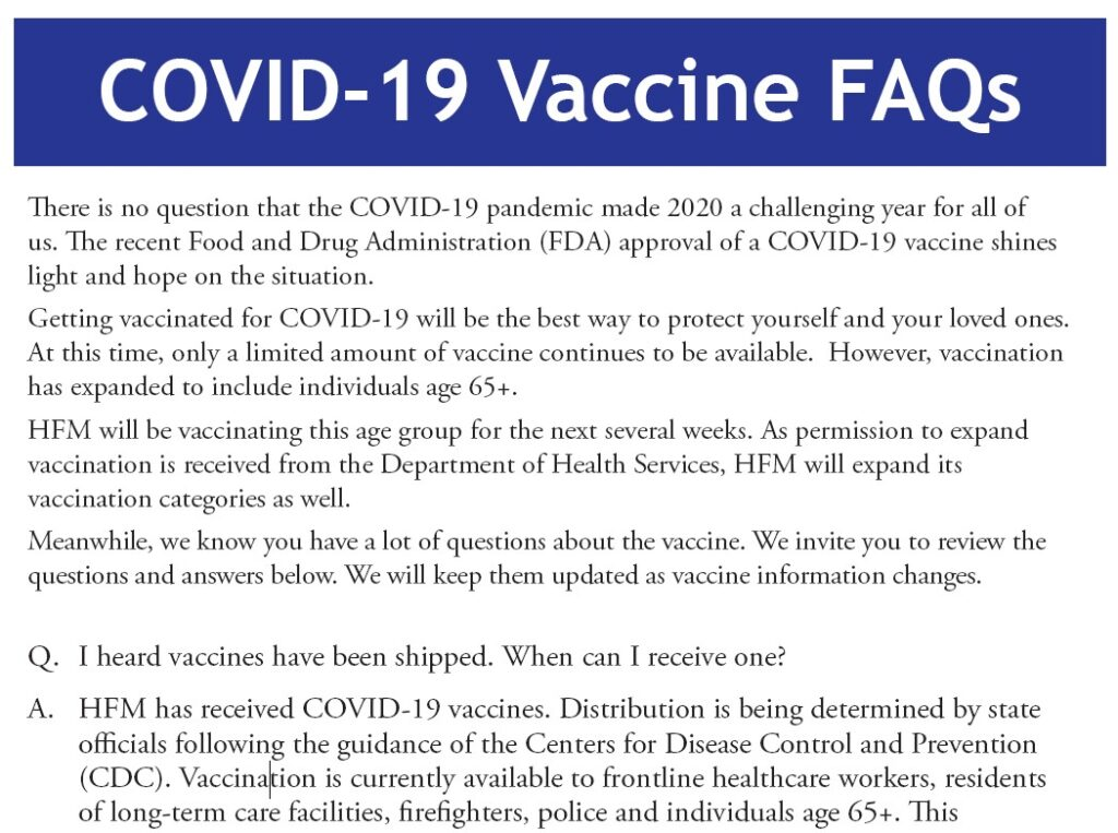 Covid-19 Vaccine FAQs